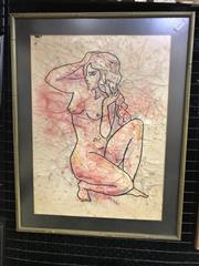 Sale 9024 - Lot 2037 - Mike Cornford Seated Nude ink on paper, frame: 50 x 39 cm, signed lower centre