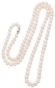 Sale 9083 - Lot 344 - A ROPE LENGTH FRESHWATER PEARL NECKLACE; 9 - 11mm off round to bullet shape cultured pearls to a parrot clasp, length, 118cm.