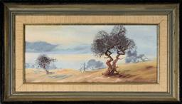 Sale 9099A - Lot 5061 - Alan Grosvenor (1925 - 2012) - Haze across Lake Jindabyne, Snowy Mountains, 1976 16.5 x 36.5 cm (frame: 29 x 50 x 3 cm)