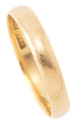 Sale 9140 - Lot 307 - AN ANTIQUE AUSTRALIAN 18CT GOLD BAND BY WILLIAM KERR; 3.6mm wide band stamped W.Kerr, size U, wt. 3.72g.
