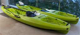 Sale 9162H - Lot 221 - A pair of emotion Temptation kayaks in lime green, each Length approx 330cm