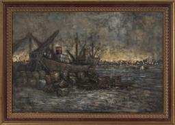Sale 9176 - Lot 2134 - William Lever, Unloading at the Wharf, Oil, SLR, 55.5x88cm