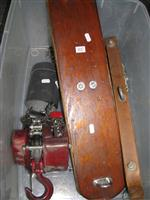 Sale 7926A - Lot 1627 - Chain Block and tackle suspension unit with timber suspension bars