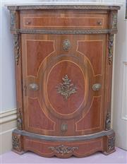 Sale 8520 - Lot 1046 - Louis XVI style marquetry and brass mounted corner cabinet with cream stone top, single drawer and bowed door