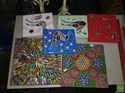 Sale 8548 - Lot 2102 - Collection of 6 Aboriginal Style Canvases incl Michael McGuane