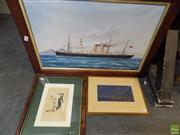 Sale 8557 - Lot 2064 - Group of (3) Assorted Artworks: Nautical Scene, watercolour (AF), Woodpecker handcoloured engraving, Chinese Landscape, gold ink