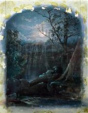 Sale 8583A - Lot 5199 - Frederick Terry (1827 - 1969) - Untitled (Waterfall Night Scene) 24.5 x 18cm (sheet size)