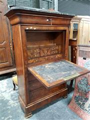Sale 8848 - Lot 1063 - Louis Philippe Burr Walnut Bureau Abattant, with marble top, frieze drawer & fall-front door & three further drawers (Keys in office)
