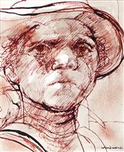 Sale 9007A - Lot 5018 - Margaret Woodward (1938 - ) - The Bloke from Outback 11 x 9.5 cm (frame: 45 x 42 x 4 cm)