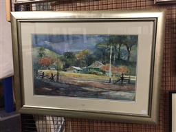 Sale 9123 - Lot 2053 - Helen Goldsmith  Country Homestead , watercolour, frame: 63 x 86 cm, signed lower right