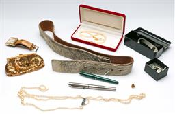 Sale 9164 - Lot 402 - Collection of costume jewellery and driving gloves inc pens and a watch