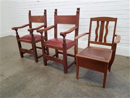 Sale 9174 - Lot 1094 - Pair of carved timber armchairs (110 x 60 x 50cm) & a commode chair