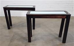 Sale 9183 - Lot 1090 - Pair of modern hall tables with milk glass inserts (h:75 w:95 d:34cm) - some damage