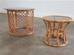 Sale 9255 - Lot 1092 - Collection of 2 cane based glass top side tables (largest h:50 dia:60cm)