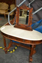 Sale 8093 - Lot 1170 - Oval Mirrored Back Dressing Table