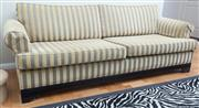 Sale 8562A - Lot 82 - A fine three seater champagne velvet and grey striped fabric lounge with piped cushions, L 200 x H 80 x D 85, with scrolled arms