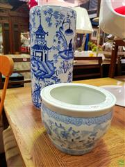 Sale 8648 - Lot 1083 - Blue and White Chinese Umbrella Stand ( H 47cm) Together with Small Jardiniere (H: 17cm D: 23cm)