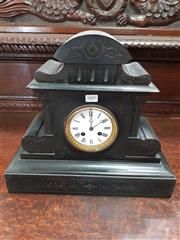 Sale 8848 - Lot 1089 - Belgian Slate Mantle Clock, with enamel dial & small malachite inlays (has key)