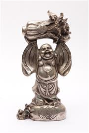 Sale 9027D - Lot 779 - A Chinese Metal Figure of A Laughing Buddha Holding A Vegetable (H 24cm)