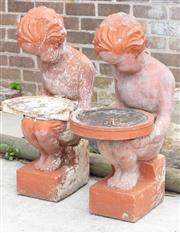 Sale 9070H - Lot 199 - Two large concrete Putti jardiniere stands/ fountains (damages to bowl, large chips), Height 86cm x Width 37cm x Diameter 49cm