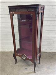 Sale 9085 - Lot 1015 - French Style Veneered Vitrine, with brass mounts, the glass panel door mounted with porcelain plaque & on cabriole legs (H:160 x W:7...