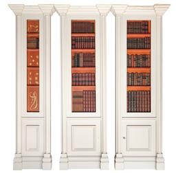 Sale 9130H - Lot 7 - Group of three white panels by Garth Barnett decorated with genuine spines of books, larger Height 235cm x Width 80cm x Depth 18cm,...