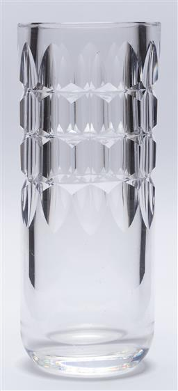 Sale 9099 - Lot 47 - Mid century cylindrical heavy glass vase, Height 25cm
