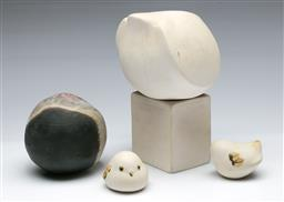 Sale 9164 - Lot 506 - Studio pottery figure of a body on stand - signed (H:21cm) together with three other figures