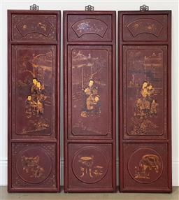 Sale 9174 - Lot 1137 - Set of three Chinese wall panels (h:121 x w:35cm each)
