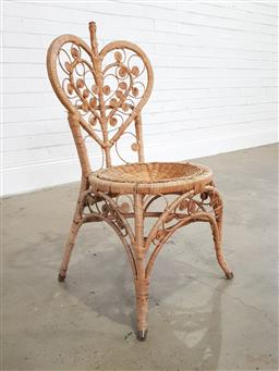 Sale 9183 - Lot 1064 - Cane hall chair with heart shaped back (h:91 dia:42cm)