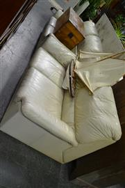 Sale 7987A - Lot 1250 - White Leather 2 Seater Lounges x 2