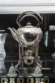 Sale 8024 - Lot 2 - Silver Plated Kettle on Stand