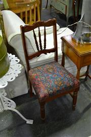 Sale 8035 - Lot 1083 - Timber Framed Chair w Floral Pattern Upholstered Seat