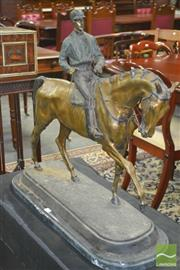 Sale 8267 - Lot 1027 - Reproduction Bronze Horse Racing Figure, with jockey and on marble base, after Pierre-Jules Mene