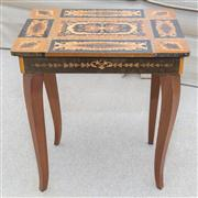 Sale 8402H - Lot 29 - A Florentine sewing table of diminutive size with inlaid hinged lid, and cabriole legs. Height 42cm.