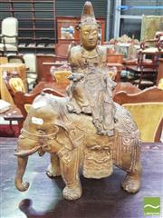 Sale 8428 - Lot 1041 - Gilt Metal Figure of Guanyin, riding an elephant