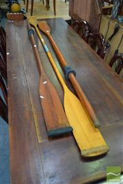 Sale 8500 - Lot 1217 - Pair of Timber Oars & Double Ended Kayak Paddle
