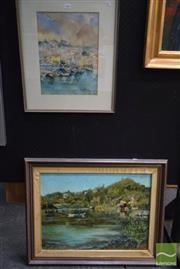 Sale 8541 - Lot 2066 - 2 Works: H.Zentner Bay Scene Framed Oil on Board SLR with Mitchell Board Harbour at Cassis Framed Watercolour SLR