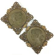 Sale 8545N - Lot 289 - Pair of Good Quality Bronze Wall Plaques (W: 34cm)