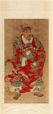Sale 8770 - Lot 46 - A large panel of an Immortal Chinese, Qing Dynasty possibly 18th Century framed in perspex600-1000