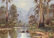 Sale 8813 - Lot 566 - Theo Delgrosso (1947 - c2011) - River Reflections, Aireys Inlet, Victoria 65 x 90cm