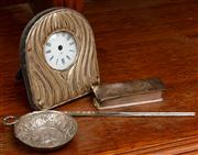 Sale 8882H - Lot 80 - A group of silver plated items including a clock, wine taster and chopsticks