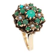 Sale 8915 - Lot 370 - A VINTAGE 9CT GOLD TURQUOISE AND PEARL RING; princess style cocktail ring set with cabochon turquoise and seed pearls, size R, wt. 5...