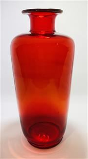 Sale 9031H - Lot 74 - Retro 1970s Ruby Red, tall hand blown glass Vase made by Tiara Blown Ware from Dunkirk, Indiana, USA, H 25cm x D 12cm -
