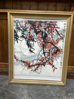 Sale 9094 - Lot 2042 - Chinese School Cherry Blossoms & The Moon, ink and watercolour, frame: 88 x 74 cm,
