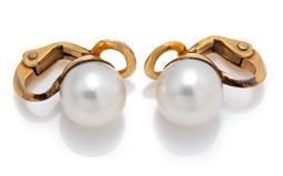 Sale 9099 - Lot 133 - A pair of 18ct yellow gold Akoya cultured pearl clip-on earrings. Pearls: 9.5-l0mm; silver white colour, good lustre and reasonable...