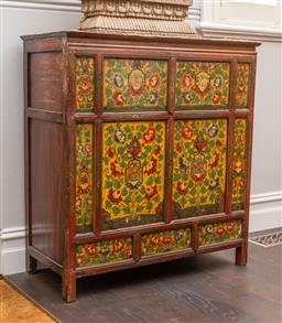 Sale 9160H - Lot 18 - An antique Tibetan polychrome cupboard with floral and beasty decorations to panelled doors, Height 111cm x Width 104cm x Depth 47cm