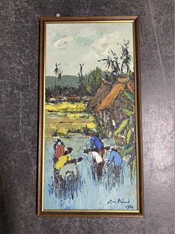 Sale 9159 - Lot 2089 - MALAYSIAN SCHOOL Village Scene, 1966, oil on board, frame: 63 x 32 cm, signed indistinctly lower right -