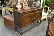 Sale 7987A - Lot 1143 - Sideboard with Pie Crust Edge with 2 Drawers above 2 Inlaid Doors on Barley Twist Supports