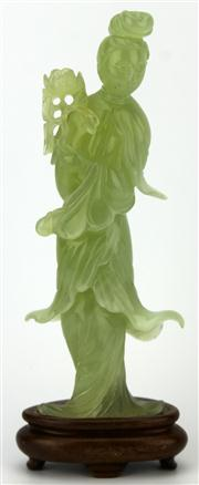 Sale 8079 - Lot 83 - Jade Carved Chinese Lady Figure